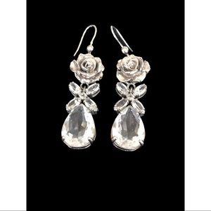 PRADA Silver-tone Rose and Crystal Drop Earrings